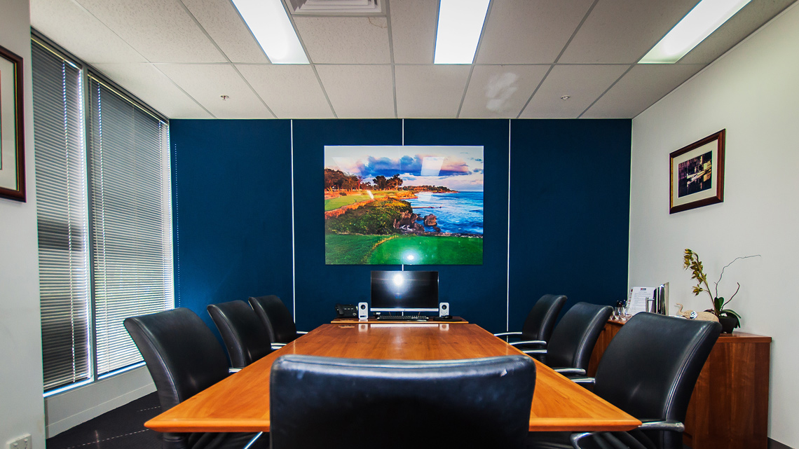 Acoustic panels installed in conference room